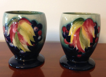 Pair Moorcroft Leaf and Berry Goblets