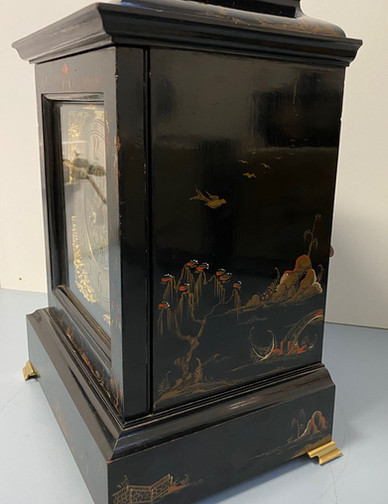 Black Chinoiserie Mantel Clock circa 1880