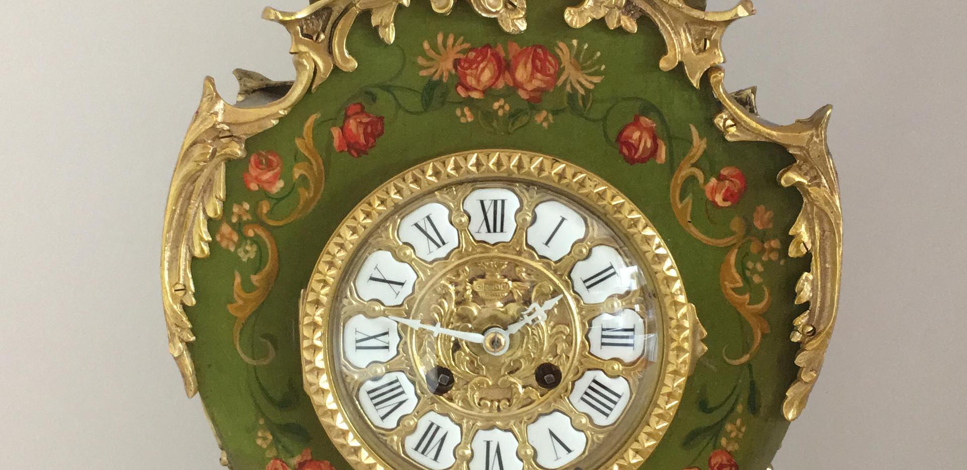Louis XV Style Grren Painted Clock