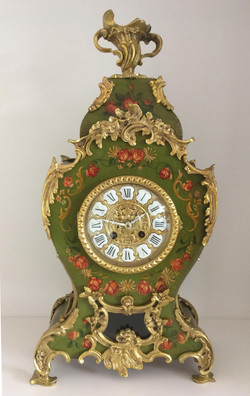 Louis XV Style Green Lacquered Clock
