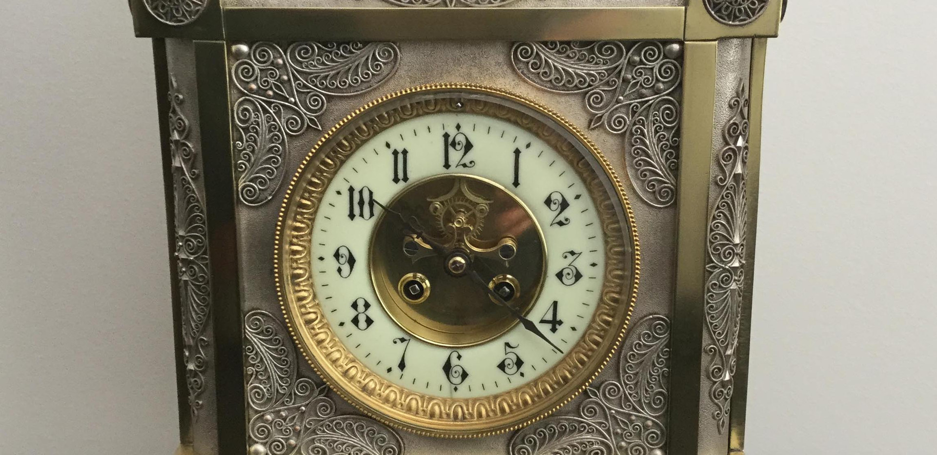 Gothic Style French Silver and Brass Clock