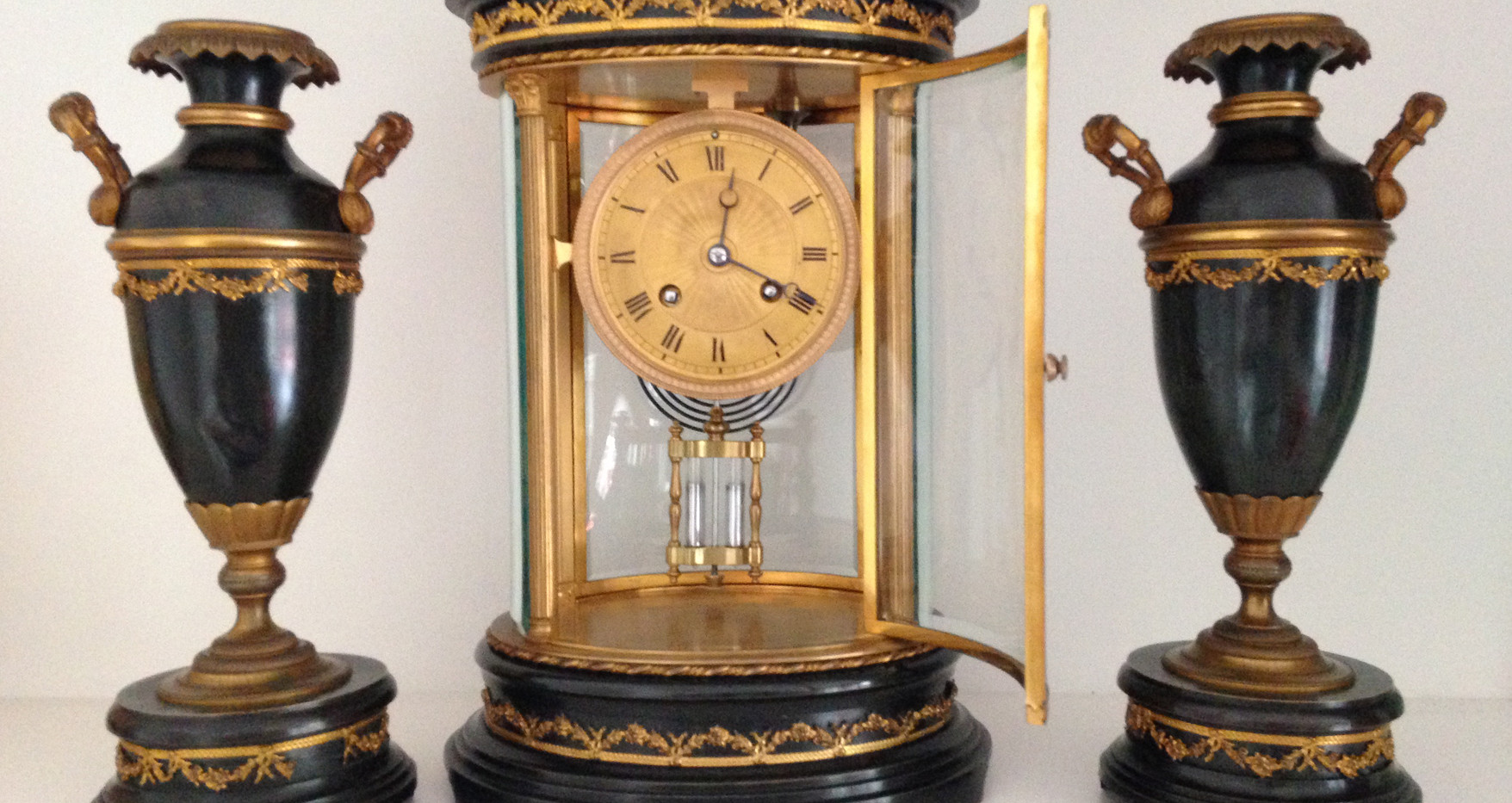 French Four Glass Library Clock Circa 1860