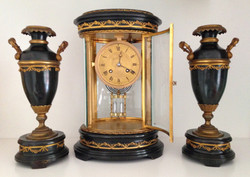 French Oval 4 Glass Clock Garniture