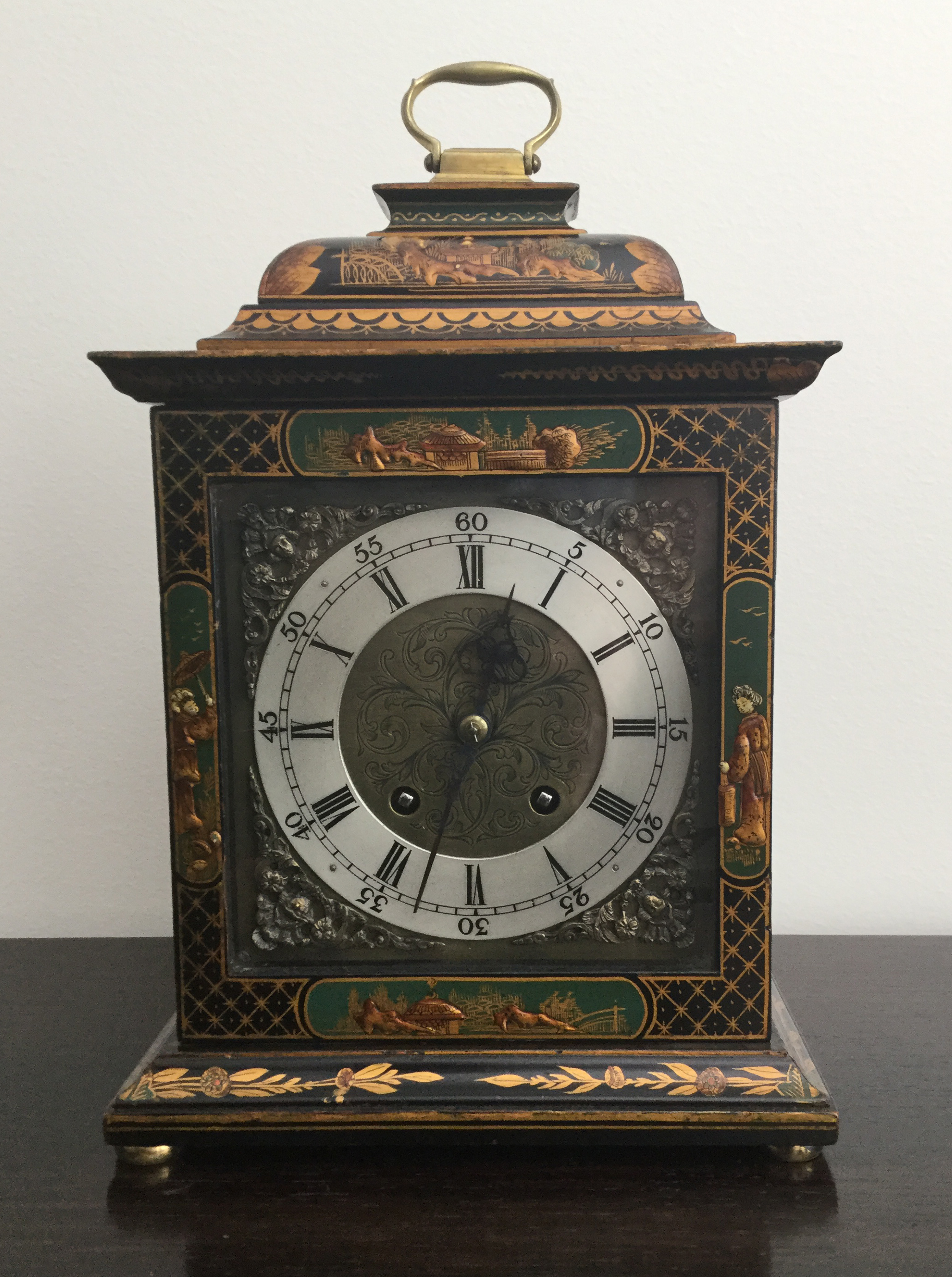 Green Chinoiserie Bracket Clock