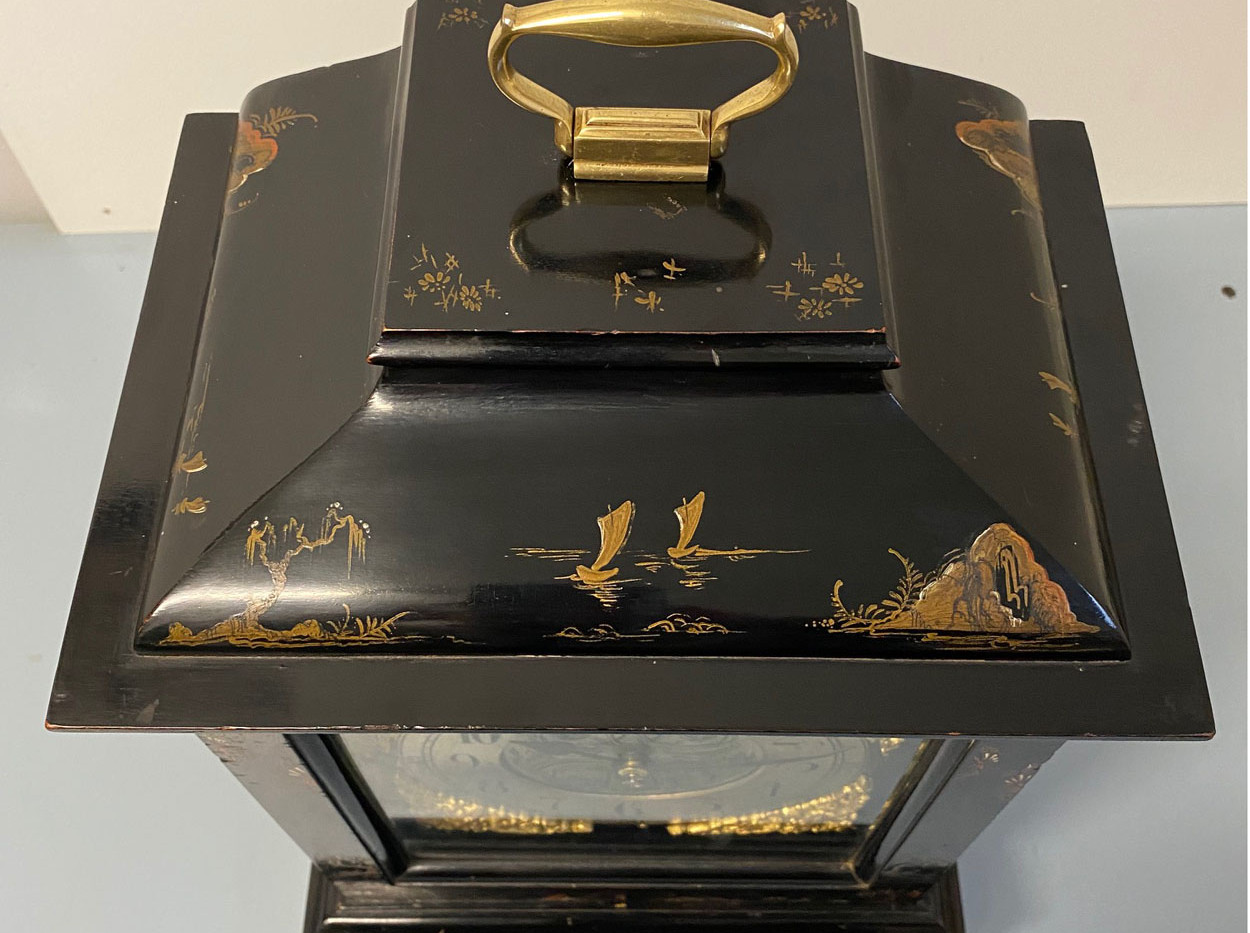 Black Chinoiserie Mantel Clock circa 1880