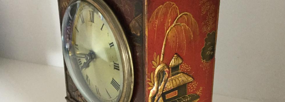 Red Chinoiserie Pagoda Clock