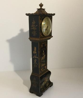 Black Chinoiserie Miniature Longcase Clock