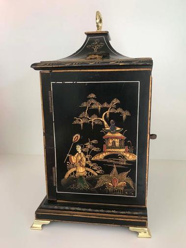 Lenzkirch Black Chinoiserie Mantel Clock