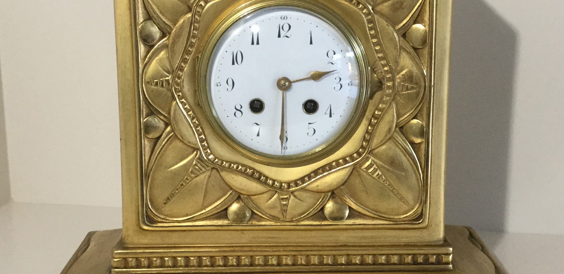 French Carved Giltwood Clock