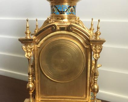 Champleve  Enamel Clock Garniture, Verso