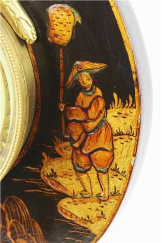 Black Chinoiserie Lyre Clock