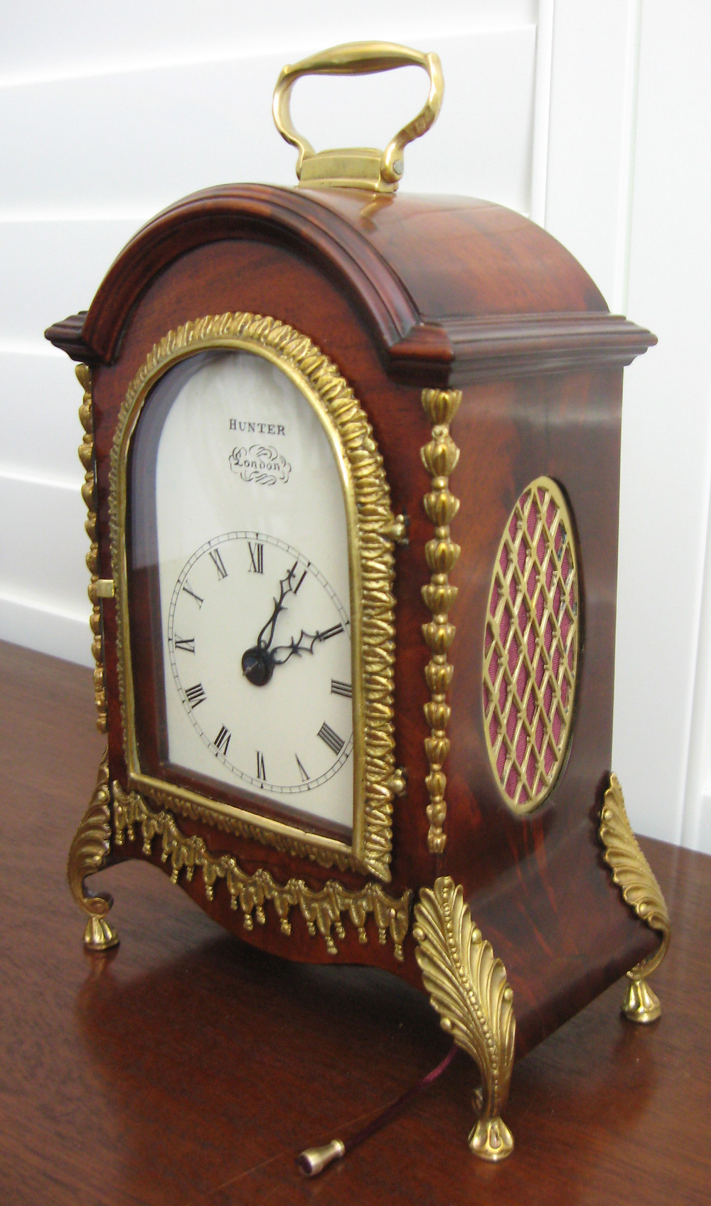 Back wind Georgian bracket clock with pull repeat and