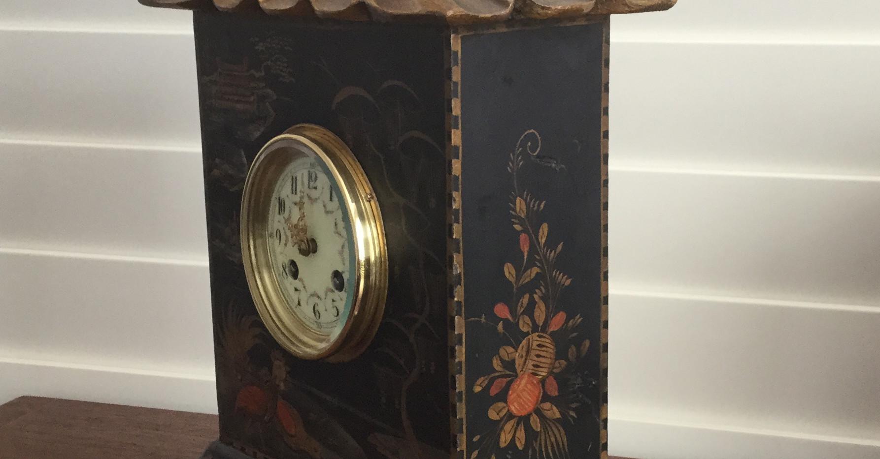 Black Chinoiserie Pagoda Clock