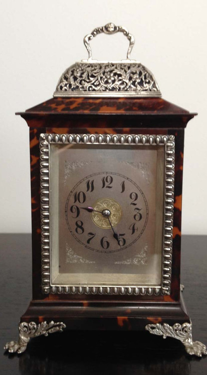 Tortoiseshell & Silver Carriage Clock