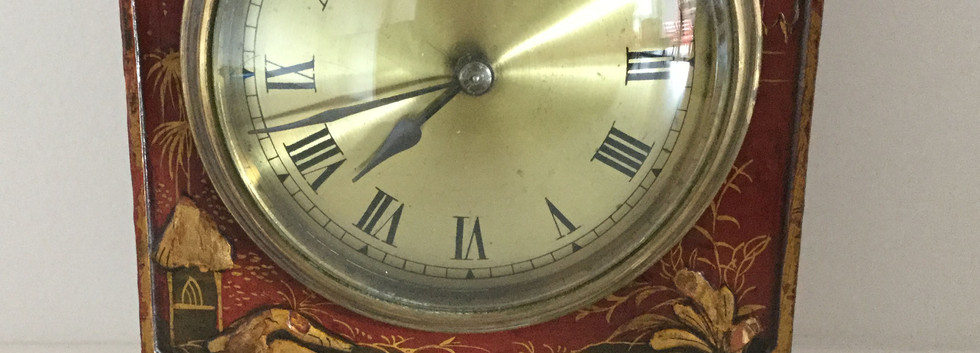 Red Chinoiserie Pagoda Cased Clock
