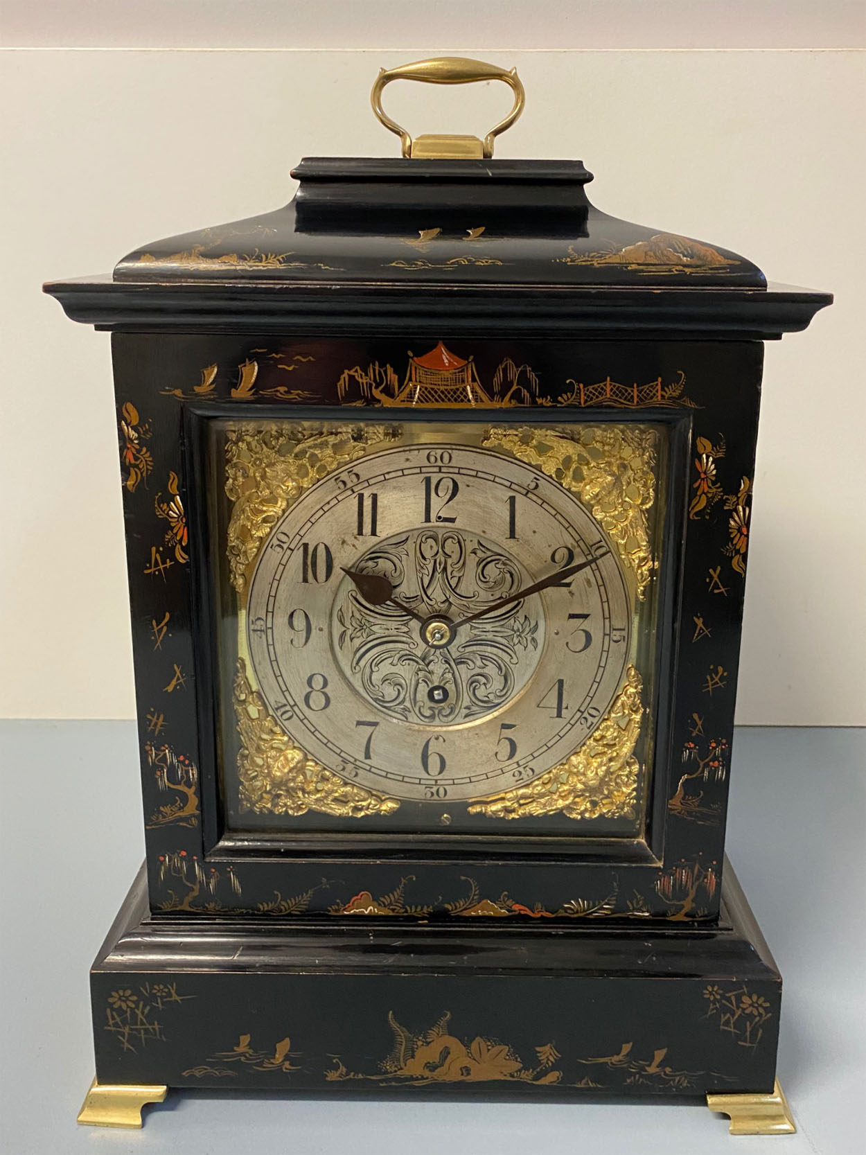 George III Style Black Chinoiserie Clock