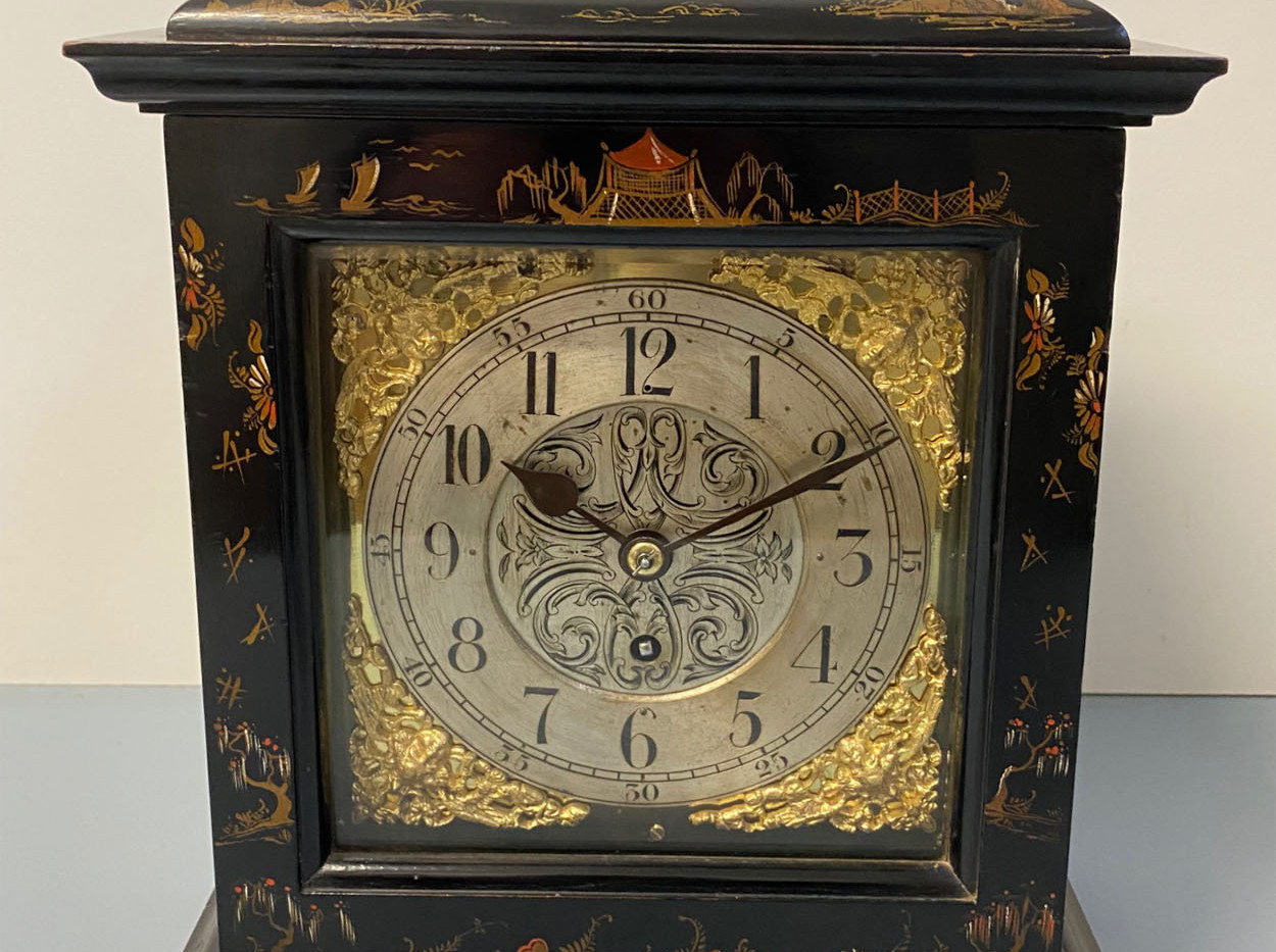 Black Chinoiserie George III Style Mantel Clock