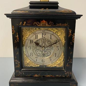 English George III Style Black Chinoiserie Clock