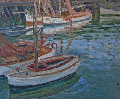 Impressionist Oil Painting Harbour Scene