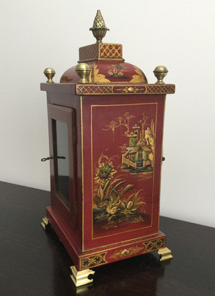 Red Chinoiserie Fusee Clock