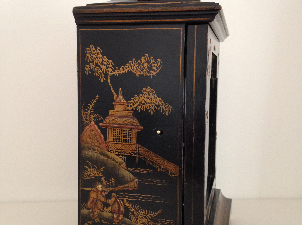 Black Chinoiserie Mantel Clock By Astral Coventry