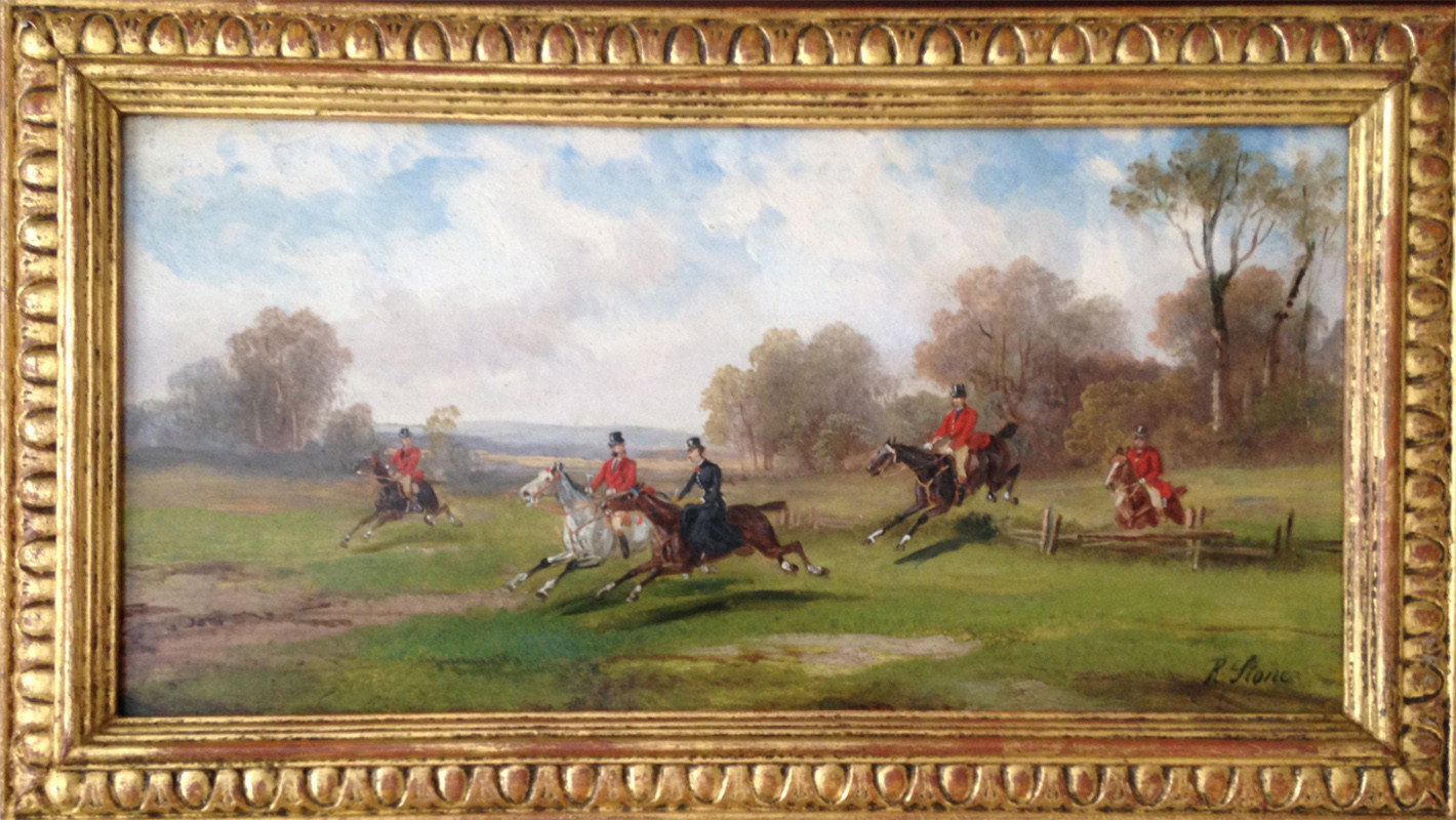 Pair of Robert Stone Hunting Scenes Oil on Board
