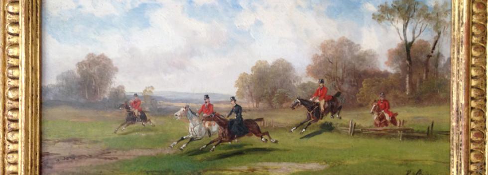 Pair of Robert Stone Hunting Scenes Oil on Board