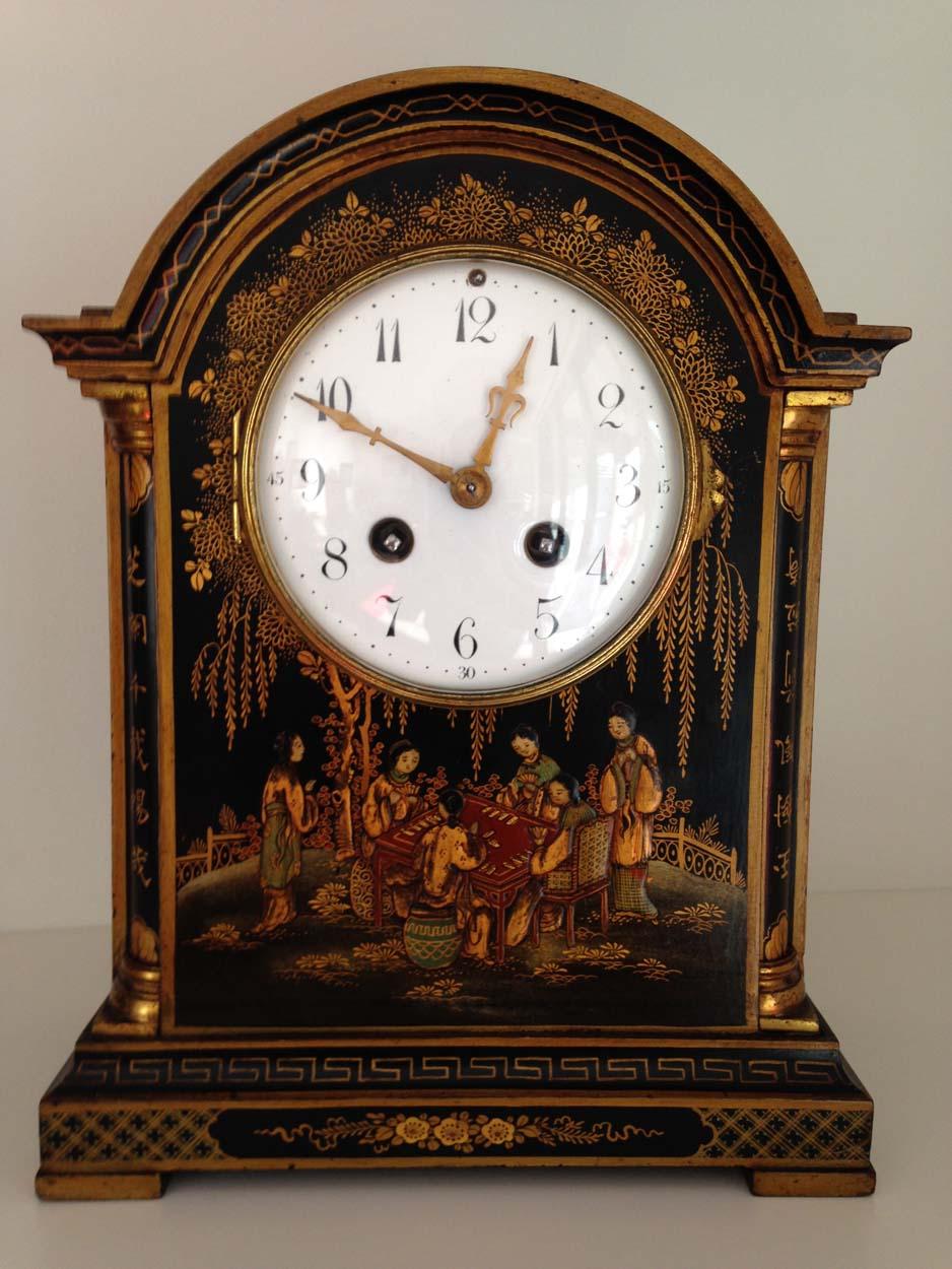 Black Chinoiserie Georgian Style Mantel Clock