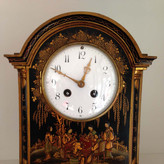 Black Chinoiserie Georgian Syle Break Arch Mantel Clock