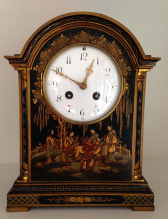 Black Chinoiserie Break Arch Mantel Clock