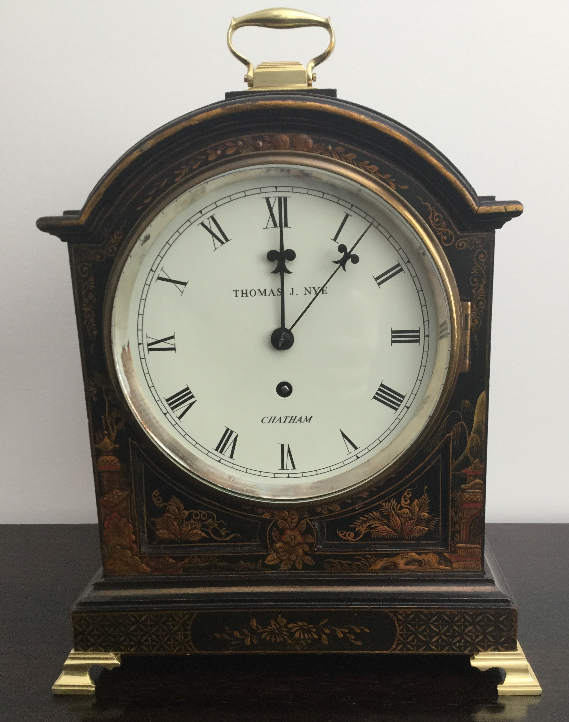 Black Chinoiserie Fusee Clock