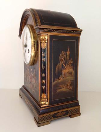 Georgian Style Black Chinoiserie Break Arch Mantel Clock