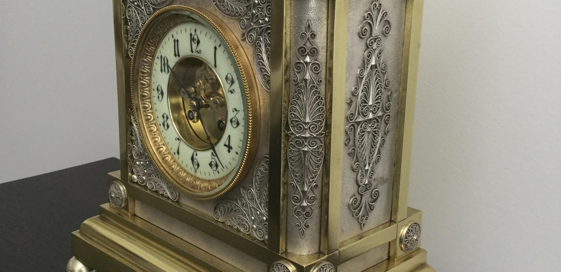 French Gothic Style Silver & Brass Clock