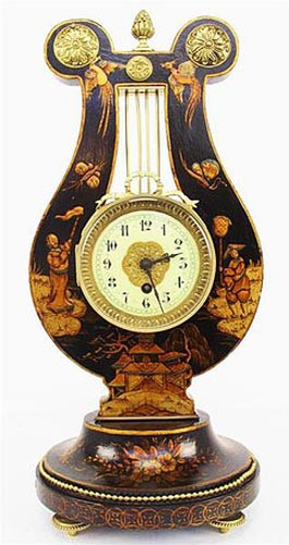 Black Chinoiserie Lyre Clock