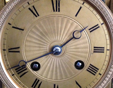 French Four Glass Library Clock
