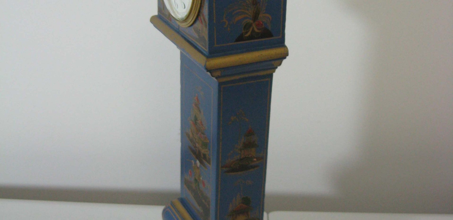Blue Chinoiserie Miniature Longcase Clock