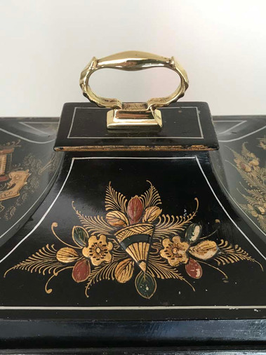 Lenzkirch Black Chinoiserie Westminster Chime Clock