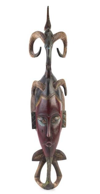 Horned West African Tribal Mask