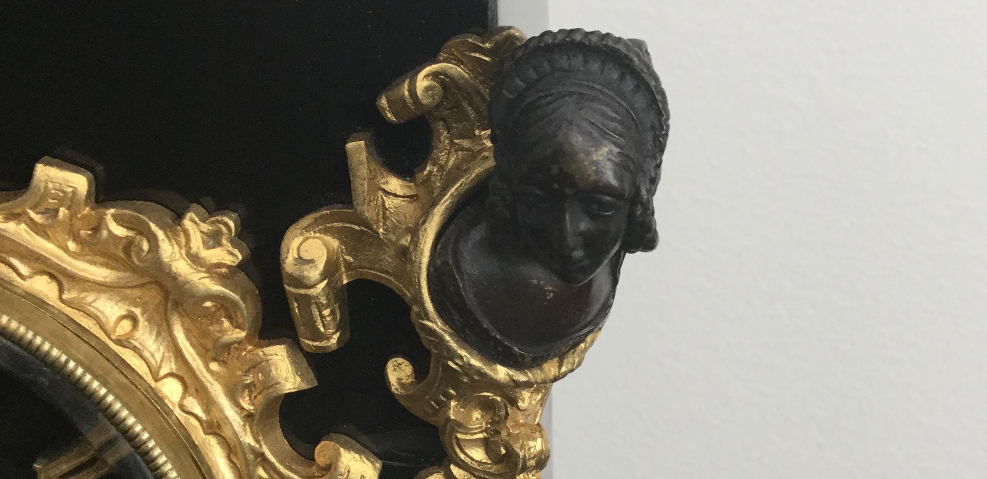 French Bronze & Slate Clock