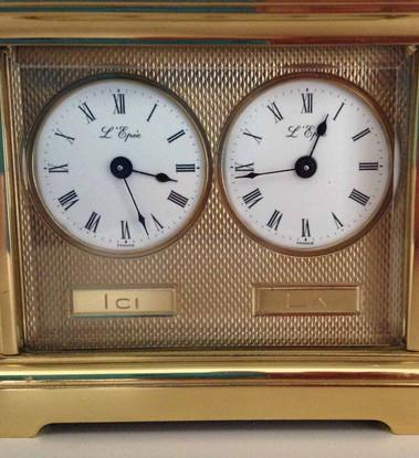 L'Epee Dual Face Miniature Carriage Clock