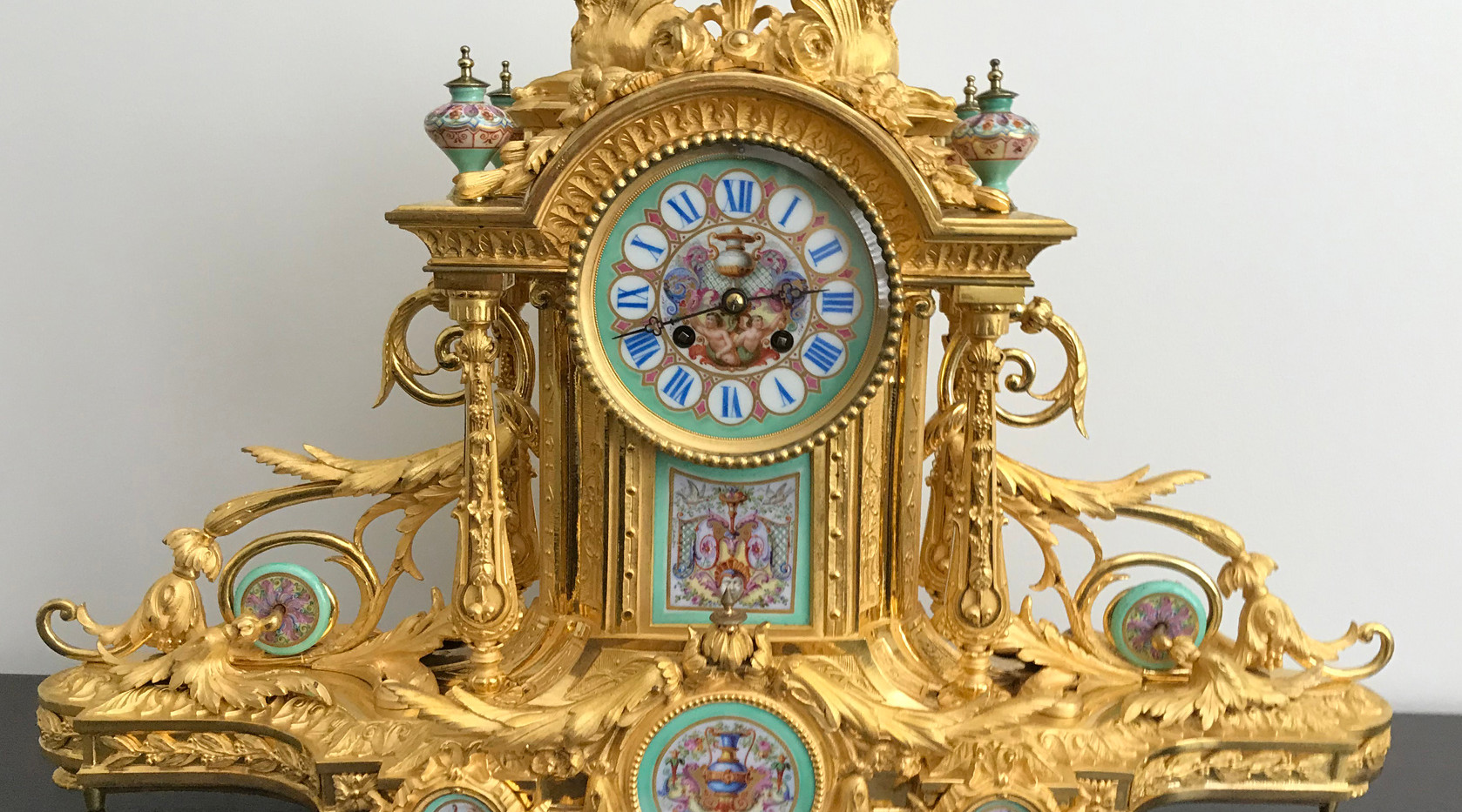 Napoleon III Gilt Brone Mantel Clock