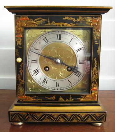 Black Chinoiserie Two Train Clock