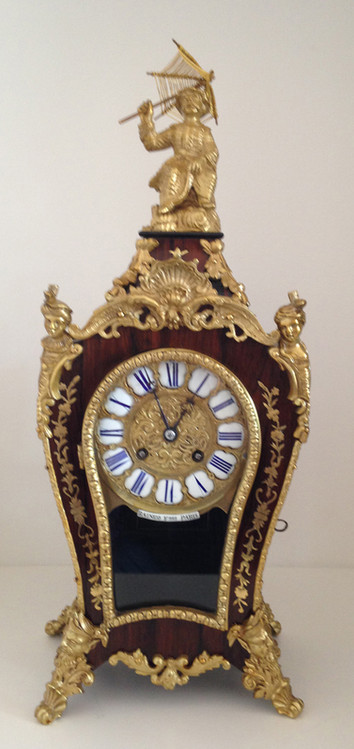 Raingo Freres Louis XV Style Rosewood Mantel Clock