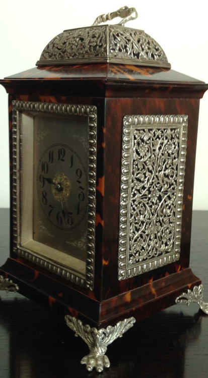 Victorian Tortoiseshell & Silver Clock Circa 1890
