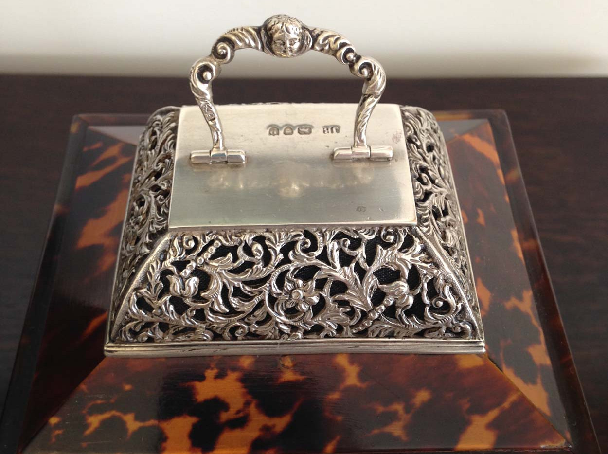 J Batson London Silver and Tortoishell Carriage Clock