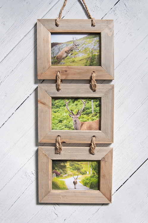 Set of 3 Stag Photos inWooden Frame