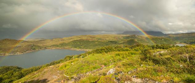Rainbow on Loch Nedd and Quinag