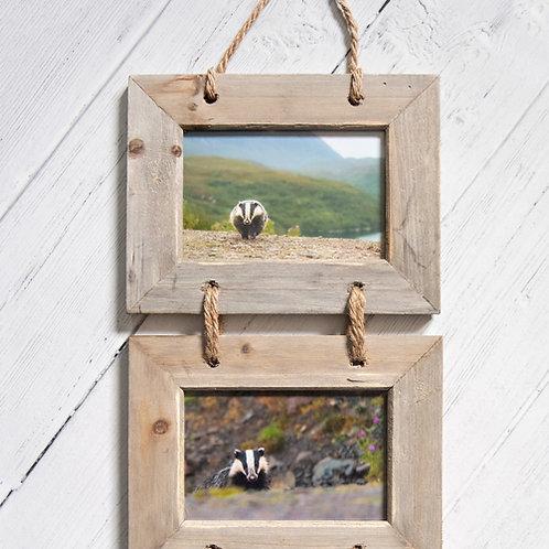 Set of 3 Badger Photos in Wooden Frames