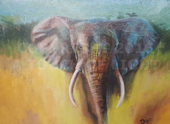 Fine art, elephant art, acrylic on canvas, art saved my life, life-changing stories, Captive Art, A Touch of Light