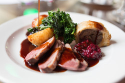 Oven-baked goose breast, goose leg sausage roll
